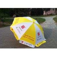 Yellow And White Big Outdoor Umbrella , Commercial Custom Market Umbrellas