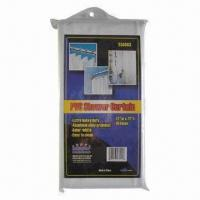 Vinyl shower curtain, measures 70x72 and 72x72 inches Manufactures
