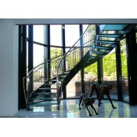 Interior glass tread curved staircase with stainless steel/ carbon steel stringer Manufactures