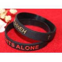 Pure Black Custom Silicone Rubber Wristbands Soft Touch Feeling Non Toxic Manufactures