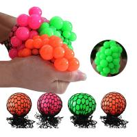 China Bead Water Walking Ball Rubber Squeeze Grape Ball Toy Mesh Squishy Ball 5cm 6cm on sale