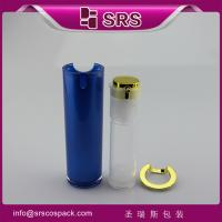 China blue painting color airless bottle for lotion,luxury airless pump bottle on sale