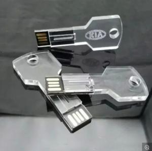 China Transparent Key Shape Crystal   Mini Usb Pen Drive Thumb Drive  16GB   4GB 8GB on sale