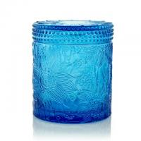 China Carved Colored Glass Jar Tea Light Candles / Perfume Scented Candles WXC190910 on sale