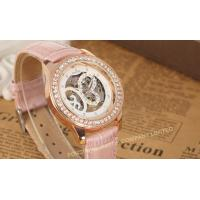 Analog Large Face Womens Wrist Watches Leather  Pink Fashion Hand Wind Mechanical Wrist Watch Manufactures