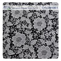 Chemical Polyester Lace Fabric , Flower Embroidery Lace For Bridal Dress Manufactures