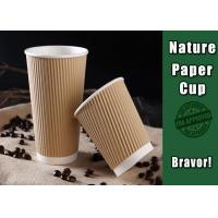 China Insulated Printed Brown Kraft Paper Cups With Lids BRC Certification on sale
