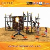 Quality QITELE Climbing Wall Kids Outdoor Gym Equipment With Aluminum / Galvanized Post for sale