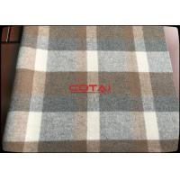 Buy cheap Hot sale 70% wool 920g/m 610GSM Eco - Friendly Wool 8-11cm Big Plaid Fabric / Tartan caramel from wholesalers