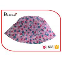 Cotton Poplin Printed Bucket Hat With Blue Stripe Lining For Girls CE / SGS Manufactures