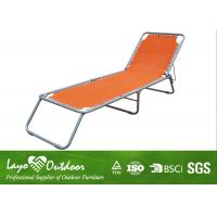 Outdoor Chaise Lounge Orange Folding Beach Chair Commercial With Steel Frame Dia. 22mm Manufactures