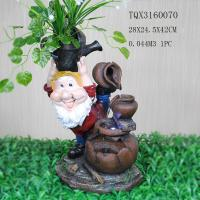 Garden Landscape Dwarf Polyresin Water Fountain Pot Design , Red And Brown Color Manufactures
