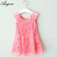 Angou SUMMER NEW children clothes girls beautiful lace dress baby girls dress wholesale Manufactures