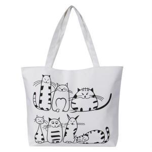Printed Cartoon Custom Shoulder Bags for women , Zippered Tote Bag