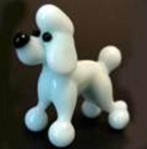 White Glass Dog For Children Gifts , Handmade Glass Animals Figurines