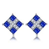 Square Sapphire Stud Earrings 18k Gold Gemstone Earrings Diamond Accents Manufactures