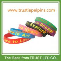Hot sales printed logo silicone wristband, silicone bracelet with offset printed logo Manufactures