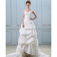 Summer capped sleeve heart shaped layered wedding dresses with sweep train , White Manufactures