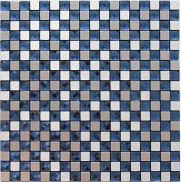 Silver Brushed Particle Glass And Metallic Mosaic Wall Tiles With Blue Crystal Diamond Glass Manufactures