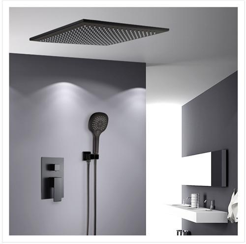Quality Contemporary Shower Wall Faucet Black Matte Single Handle Under Water Faucet 20.5cm for sale