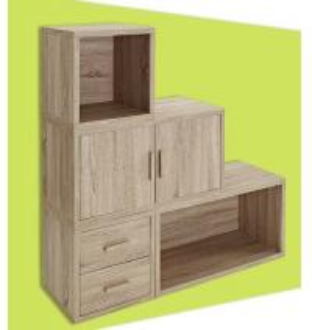 Adjustable Light Wooden Book Case , Bookshelf With Doors/ Drawers Manufactures