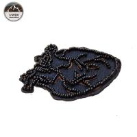Self Adhesive Black Large Heart Patch , Beads Material Embroidered Star Patches Manufactures