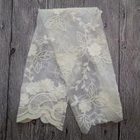White Embroidered Mesh Ivory Floral Lace Fabric , 130cm Wide Cotton Lace Dress Fabric Manufactures