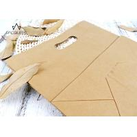 Reusable Takeaway Paper Bags Punched Handle White / Brown Kraft Paper Manufactures