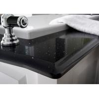 Black Glossy Natural Quartz Stone Countertops For Kitchen Table Manufactures