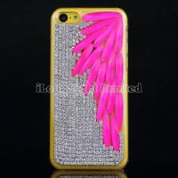 Leaf Rhinestone Crystal Diamond Case For iPhone 5C Manufactures