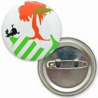 40mm Tin Button Badges with Offset Printing Logo and Safety Pin on Back Manufactures