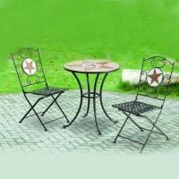 Ceramic/Mosaic Tiles Outdoor Furniture with Black Powder Coating, Includes Table and Chairs Manufactures