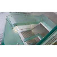 Glass railing with stainless steel standoff / patch fitting for staircase Manufactures