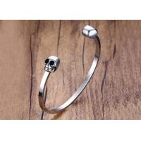 Quality Customized High Polished Brand Stainless Steel Skull Bracelets Wide Cuff Open Bangle Bracelet for sale