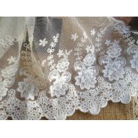 White Embroidery Flower Cotton Nylon Mesh Lace Fabric 6.29'' Width For Garment Manufactures