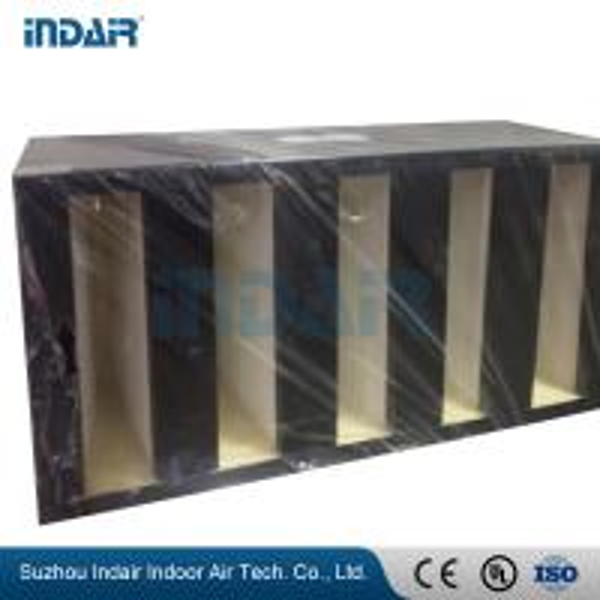Quality Mini Pleat Design V Bank Air Filter , Firm Structure V Type Filter Glass Fiber Media for sale