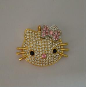 Cute Cat Jewelry USB Flash Drive , Diamond USB Disk 2.0 2GB 4GB Manufactures