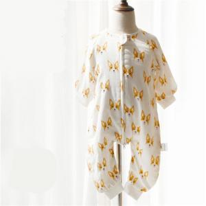 Anti Kicking Woven Muslin Baby Pajamas Animal Print Sleeping Bag 100% Cotton Material Manufactures