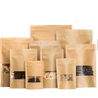 Stand Up Design Kraft Paper Pouch , Custom Printed Resealable Food Bags Manufactures