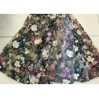 Multi Color Embroidered 3D Flower Lace Fabric / Fabric , Bead Lace Tulle For Dress Manufactures