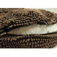 Gray White Brown Chenille Heart Cushion , Luxurious Round Pet Bed Manufactures