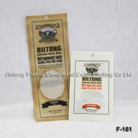 China Beef Jerky Food Packaging Plastic Bags With Clear Window And Hole on sale