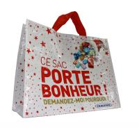 Custom PP Woven Shopping Bags  120gsm Cylinder Printing CMYK Color Shining Coated Manufactures