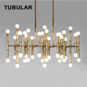 Polished Nickel Contemporary Pendant Lamp , Rectangular Hanging Ceiling Pendant Lights Bamboo Motif Large Meurice Manufactures