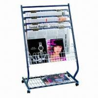 China Magazine Stand with 4pcs Newspaper Clamps and 2pcs Magazine Nets, Mobile with Lockable Castors on sale