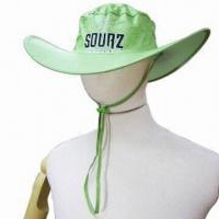 Light Green Foldable Cow-Boy Hat, Made of Polyester, with Silkscreen Printing Logo Manufactures