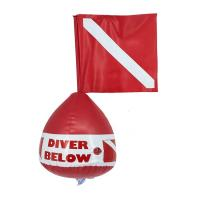 Red Spearfishing Buoy With Flag Pvc Material Good Wear Resistance Manufactures