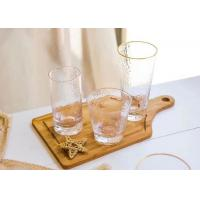 Round Glass Drinking Cup Sets With Gold On Cup Side For Juice And Wine Manufactures