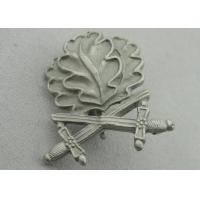 3D Leaves Shape Zinc Alloy Souvenir Badges, Memorial Badge with Cross Sword with Misty Nickel Plating Manufactures