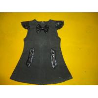 Cap Sleeves Little Girls Winter Dresses Leather Blocked Bows A Line Kids Woolen Dress Manufactures